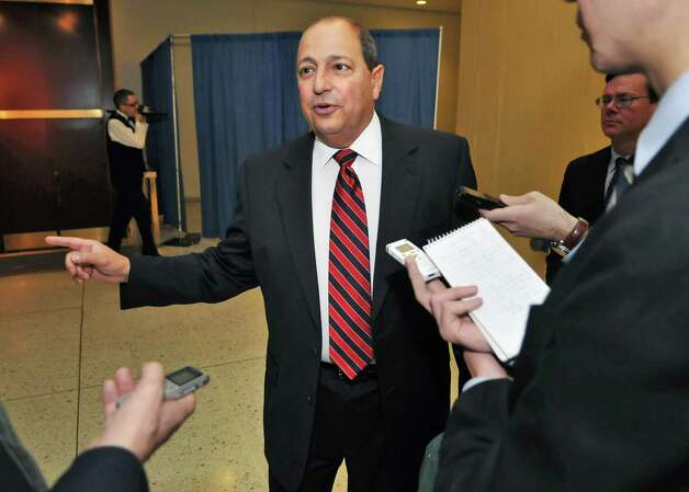 Deputy Senate Majority Leader Tom Libous speaks to reporters about proposals to change redistricting laws at the Capitol, Tuesday morning, March 1, 2011. (John Carl D'Annibale / Times Union) Photo: John Carl D'Annibale / 00012234A