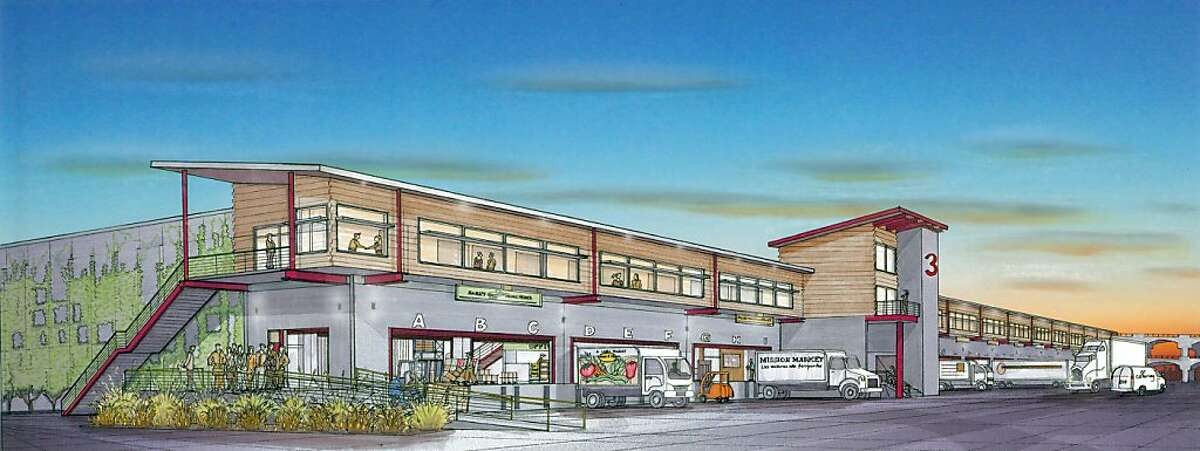Rendering of the exterior of the planned San Francisco Wholesale Produce Market located in Bayview.
