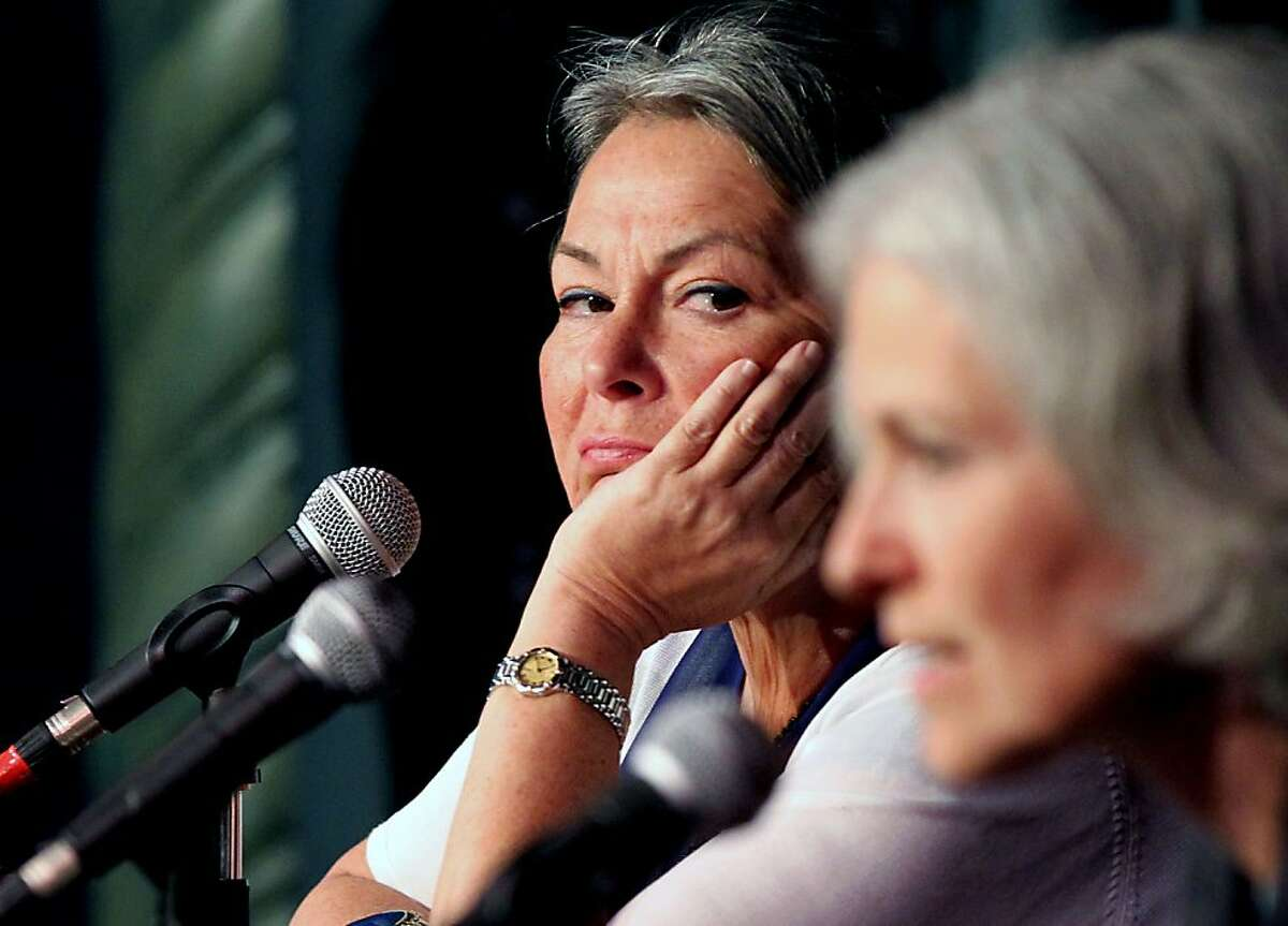Roseanne Barr looks over at Jill Stein right, during the Green Party debate Saturday, May 12, 2012. Both Barr and Stein are as seeking the party?•s nomination for the President of the United States nomination. The Green Party hosted several hundred loyal and enthusiastic followers that had the opportunity to ask question of the candidates at the Victoria Theater in San Francisco's Mission District.