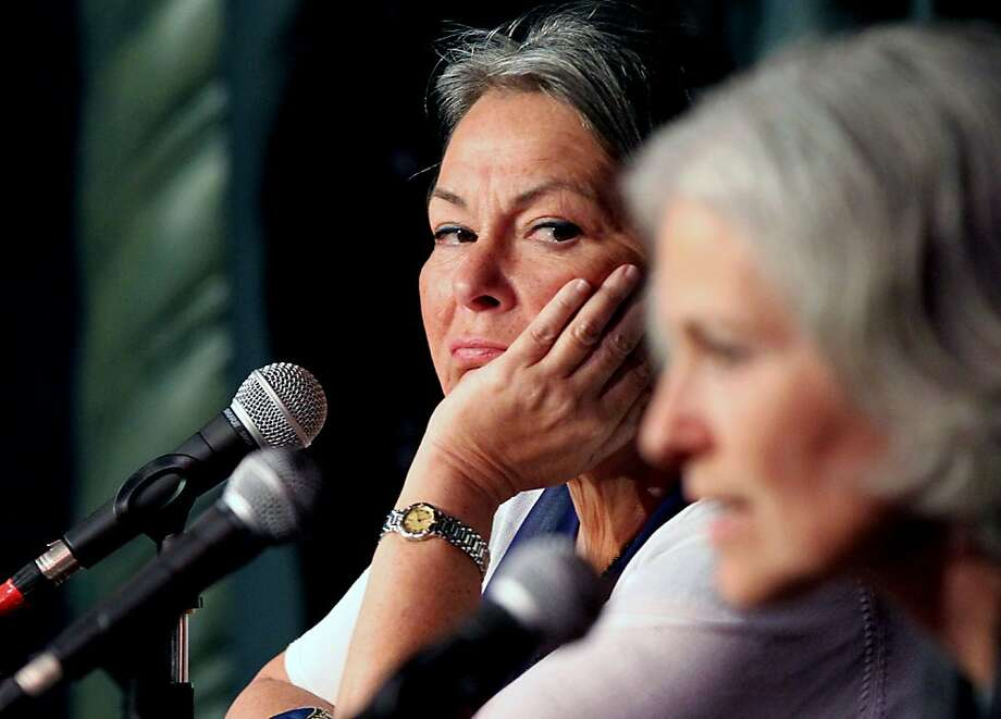 Roseanne Barr looks over at Jill Stein right, during the Green Party debate Saturday, May 12, 2012. Both Barr and Stein are as seeking the partyÕs nomination for the President of the United States nomination. The Green Party hosted several hundred loyal and enthusiastic followers that had the opportunity to ask question of the candidates at the Victoria Theater in San Francisco's Mission District. Photo: Lance Iversen, The Chronicle