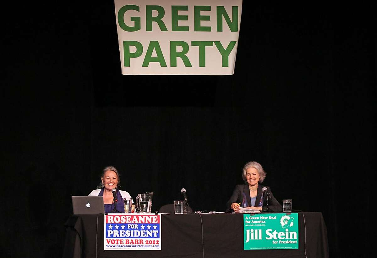 Roseanne Barr and Jill Stein right, faced off against each other, seeking the Green Party nomination for the President of the United States nomination Saturday, May 12, 2012. The Green Party hosted about five hundred loyal and enthusiastic followers that had the opportunity to ask question of the candidates at the Victoria Theater in San Francisco's Mission District.