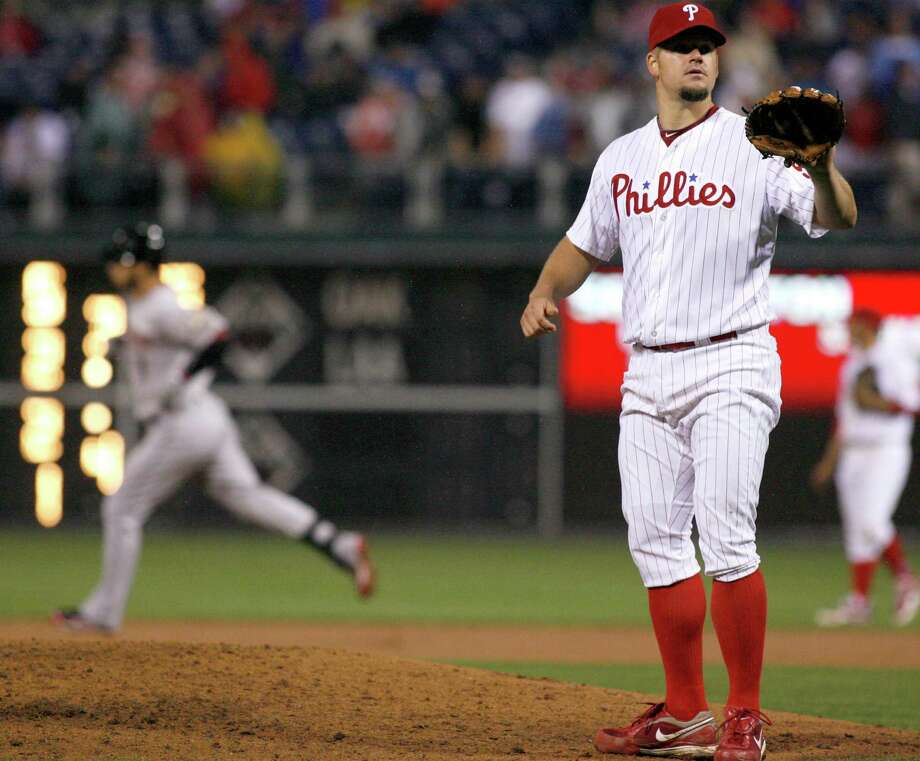 Philadelphia Phillies starting pitcher Joe Blanton waits for a new ball after Houston Astros' Marwin Gonzalez hit a solo home run in the eighth inning of a baseball game, Monday, May 14, 2012, in Philadelphia. The Phillies won 5-1. (AP Photo/H. Rumph Jr) Photo: H. RUMPH JR, Associated Press / FR61717 AP