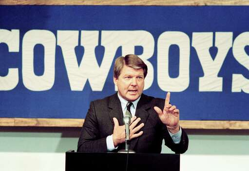 New Dallas Cowboys head coach Jimmy Johnson gestures as he speaks during a news conference on Tuesday, February 28, 1989 at the NFL team?s training facility in Irving, Texas. The former University of Miami coach replaces Tom Landry who was fired. (AP Photo/ Pat Sullivan) Photo: Pat Sullivan, STF / Beaumont