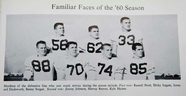 Port Arthur native Jimmy Johnson, top row left, pictured in his 1961 senior yearbook, Yellow Jacket. Johnson a Super Bowl-winning coach with the Dallas Cowboys who is now an NFL analyst on Fox, is back in town for his 50th class reunion. Johnson graduated from Thomas Jefferson High School in Port Arthur. Friday,  June 24, 2011.  Valentino Mauricio/The Enterprise Photo: Valentino Mauricio