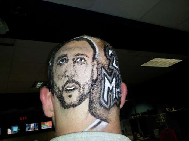 KABB's J.T. Street had a Manu Ginobili portrait shaved into his hair. Photo: Roxanne Gass