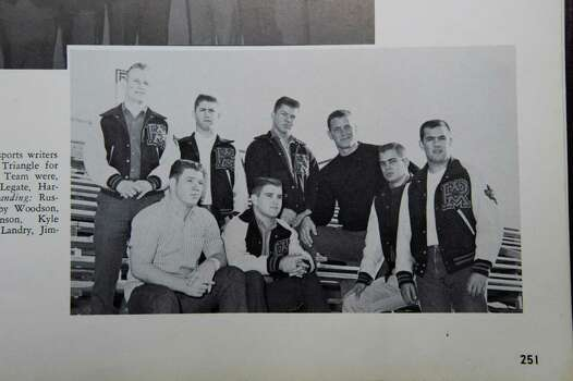 Port Arthur native Jimmy Johnson, center top row,  pictured in his 1961 senior yearbook, Yellow Jacket. Johnson a Super Bowl-winning coach with the Dallas Cowboys who is now an NFL analyst on Fox, is back in town for his 50th class reunion. Johnson graduated from Thomas Jefferson High School in Port Arthur. Friday,  June 24, 2011.  Valentino Mauricio/The Enterprise Photo: Valentino Mauricio