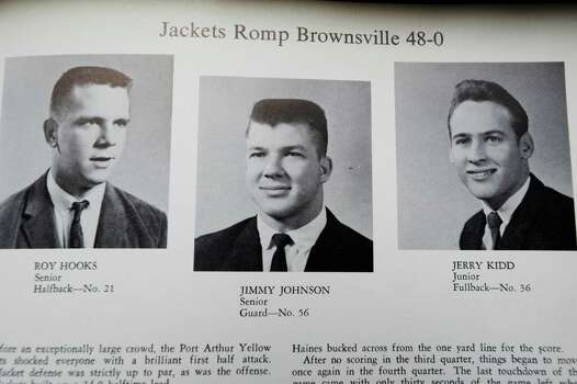 Port Arthur native Jimmy Johnson, center, pictured in his 1961 senior yearbook, Yellow Jacket. Johnson a Super Bowl-winning coach with the Dallas Cowboys who is now an NFL analyst on Fox, is back in town for his 50th class reunion. Johnson graduated from Thomas Jefferson High School in Port Arthur. Friday,  June 24, 2011.  Valentino Mauricio/The Enterprise Photo: Valentino Mauricio