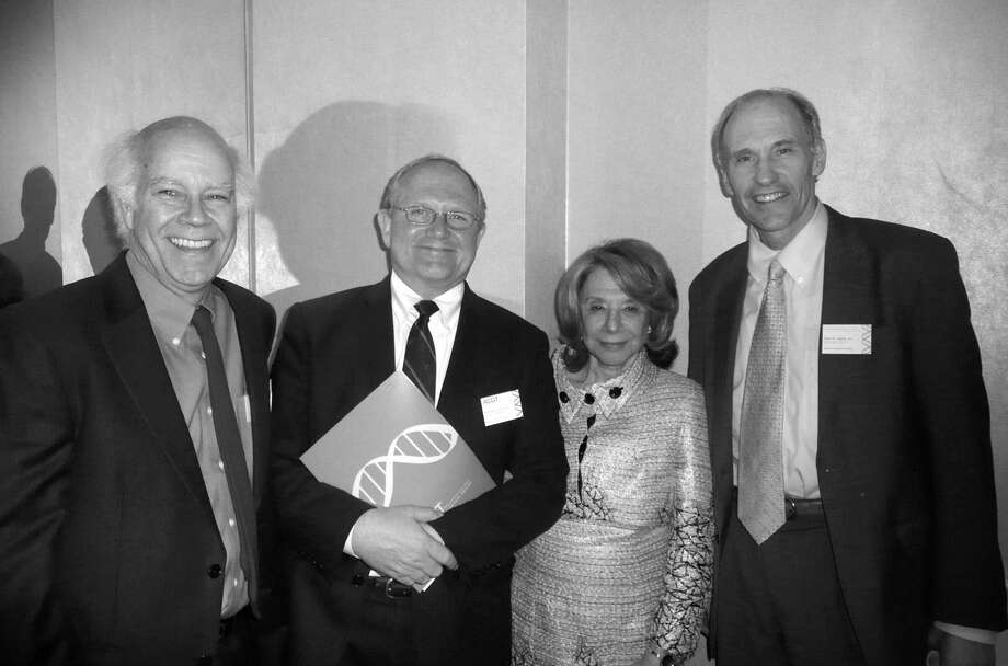Barbara Netter of Greenwich, co-founder of the Alliance for Cancer Gene Therapy, met with members of her Scientific Advisory Council, Dr. Dusty Miller, far left, and Dr. Michael Lotze, and with Dr. Carl June, right, at the 10th anniversary celebration of ACGT, which was held recently at the Hyatt Regency in Greenwich. Photo: Anne W. Semmes
