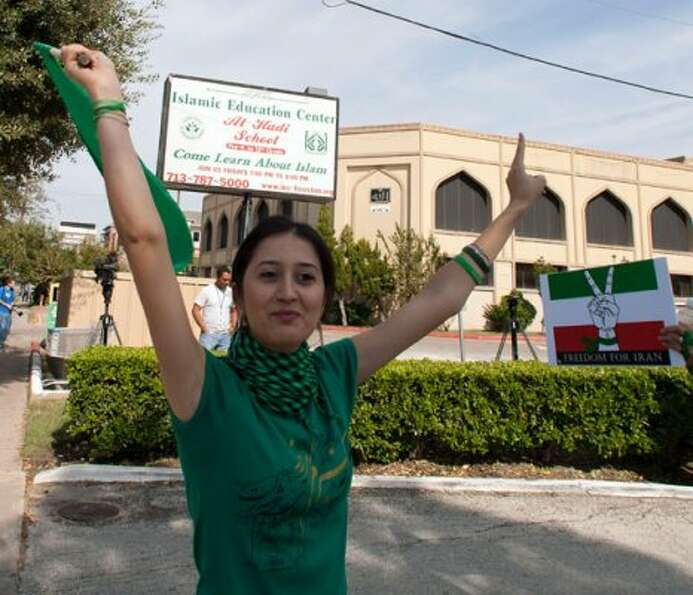 Gelareh Bagherzadeh during a protest outside the Islamic Education Center Friday, Nov. 13, 2009, in