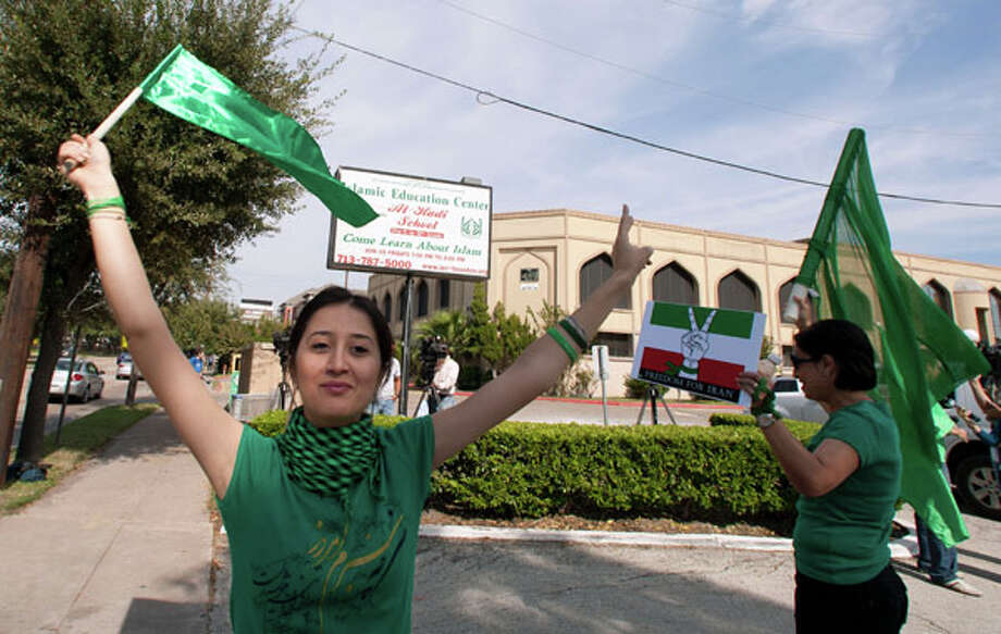 Gelareh Bagherzadeh during a protest outside the Islamic Education Center Friday, Nov. 13, 2009, in Houston. ( James Nielsen / Chronicle ) (Houston Chronicle)