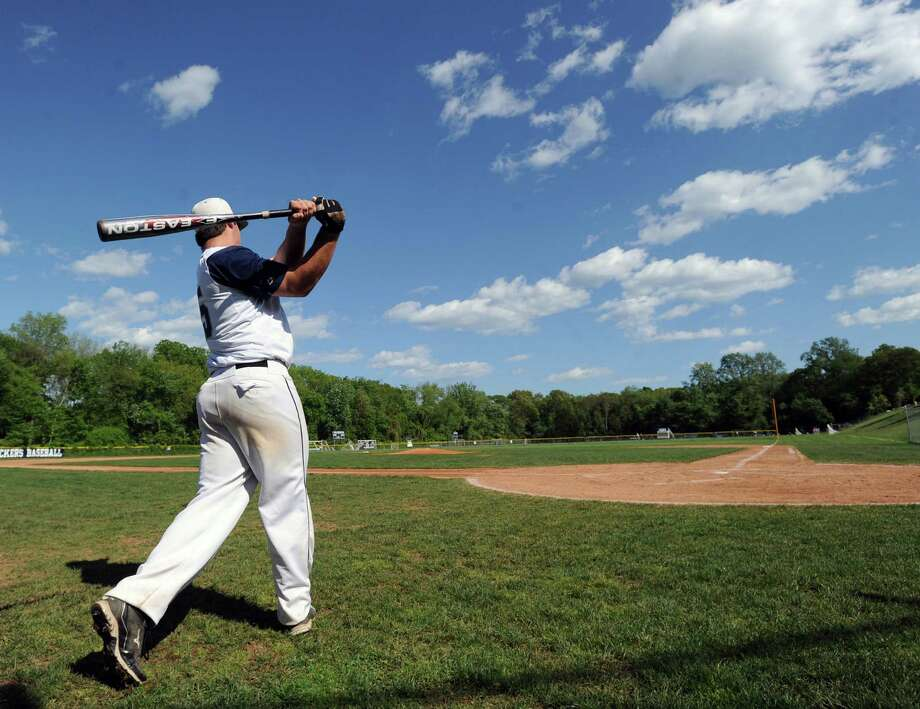 Staples' Zach Levins practices his swing Friday in a game against Greenwich. On Monday, Levins had a single in a 6-1 loss to Ridgefield. Photo: Bob Luckey, Bob Luckey/Staff Photographer / Greenwich Time