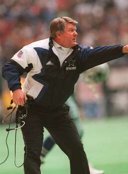 Jimmy Johnson, shown in this 1993 file photo, stepped before a mound of microphones Thursday Jan. 11, 1996 and picked up where he left off two years ago, talking about the Super Bowl.   Only the team had changed. The Miami Dolphins introduced Johnson as their coach at a news conference in the same room where Don Shula announced his resignation last Friday. It was a swift and smooth transition, as if scripted by owner Wayne Huizenga. (AP Photo/file) / AP1996