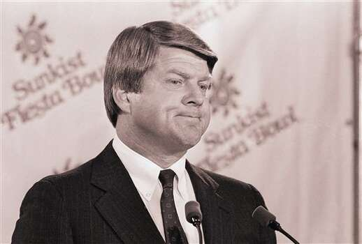 Miami football coach Jimmy Johnson listens to a reporters question on Saturday, Dec. 27, 1986 in Phoenix, Arizona during an arrival press conference. Johnson arrived ahead of his team which was expected to land in Arizona in the evening. Miami will play Penn State in the upcoming Fiesta Bowl on January 2. (AP Photo/Jeff Robbins) Photo: Jeff Robbins, STF / AP1986