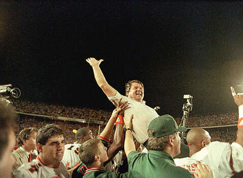 University of Miami coach Jimmy Johnson is carried from the field by his players after the Miami Hurricanes defeated the Oklahoma Sooners, 20-14 in the Orange Bowl Classic in Miami, Jan. 1, 1988.  (AP Photo/Raul Demolina) Photo: RAUL DEMOLINA, STR / 1988 AP