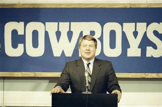Dallas Cowboys head Coach Jimmy Johnson laughs at question during a press conference on Tuesday, March 1, 1989 at the NFL team?s training facility in Irving, Texas. (AP Photo/Pat Sullivan) Photo: Pat Sullivan / AP1989
