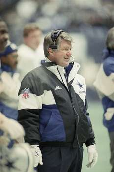 Dallas Cowboys coach Jimmy Johnson watches the action during the NFC divisional playoffs against the Philadelphia Eagles in Dallas on Jan. 21, 1993. (AP Photo/Rusty Kennedy) Photo: Rusty Kennedy, STF / AP1993