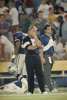 Dallas Cowboys head coach Jimmy Johnson watches the final plays of the Cowboys 35-16 defeat by the Washington Redskins on Monday, Sept. 6, 1993 at Washington?s RFK Stadium. (AP Photo/Doug Mills) Photo: Doug Mills, STF / AP1993