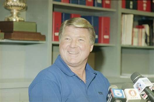 Dallas Cowboys head coach Jimmy Johnson cracks a big smile during a news conference on Monday, Jan. 3, 1994 at the team?s practice facility in Irving, Texas. The Cowboys won the NFC East title on Sunday and will have the homefield advantage throughout the playoffs. (AP Photo/Ron Heflin) Photo: Ron Heflin, STF / AP1994