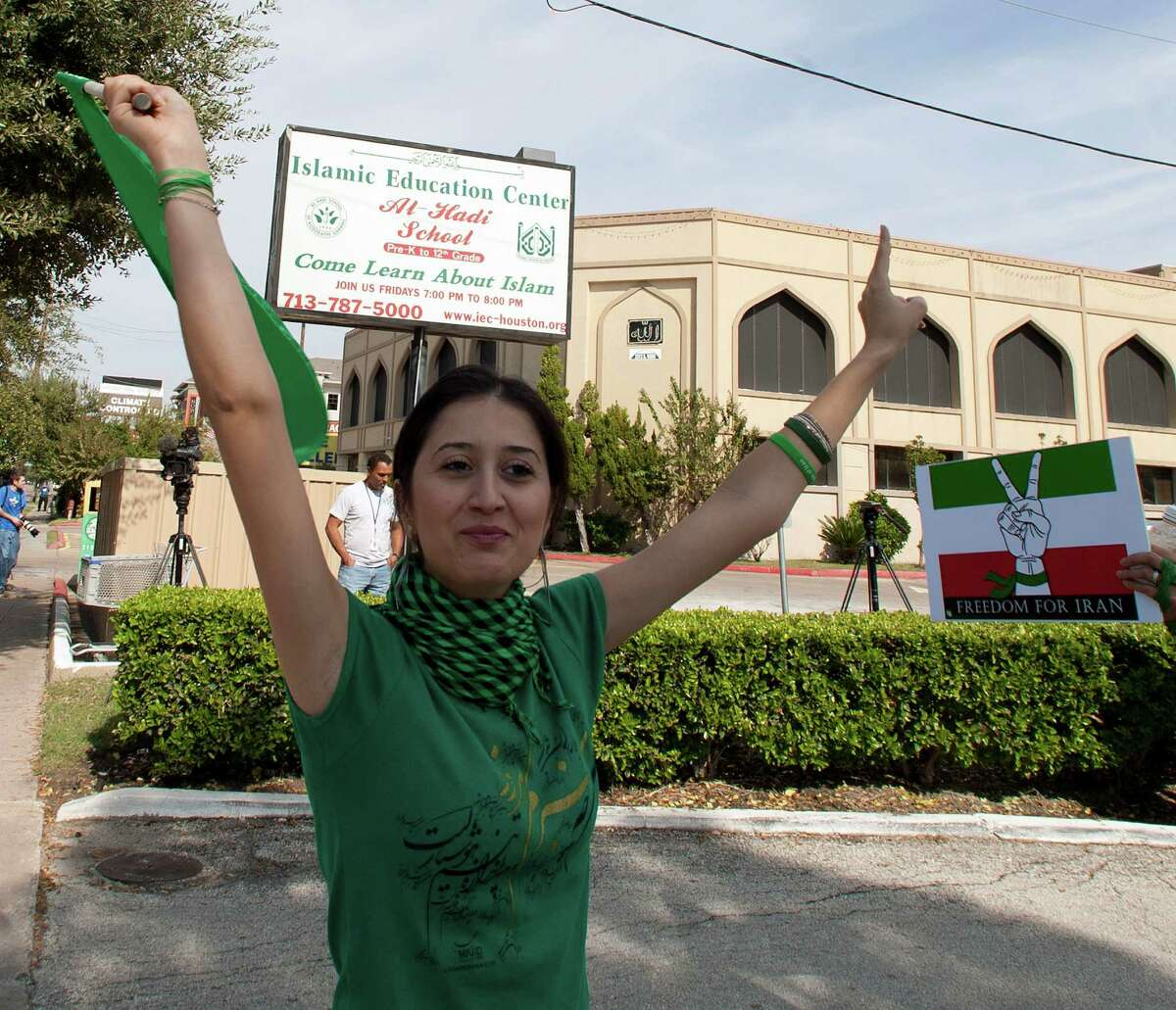 Gelareh Bagherzadeh protests outside the Islamic Education Center in Houston, Texas on Nov. 13, 2009. Prosecutors sayAli Mahwood-Awad Irsan, a conservative Muslim, shot and killed Bagherzadeh in January 2012 because she encouraged his daughter to marry 28-year-old Coty Beavers, a Christian man.