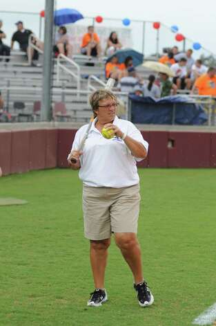 Klein Collins softball coach Rosie Rhodes prior to a rain delay and 10-0 Class 5A Region III quarterfinals victory against Oak Ridge on 5-11-12 at Magnolia West High School. Photo: L. Scott Hainline / The Chronicle