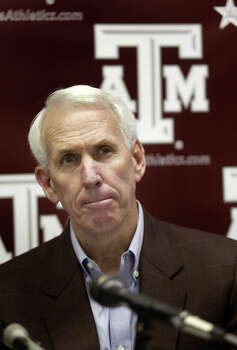 Texas A&M coach R.C. Slocum appears at a press conference at Kyle Field In College Station, Texas Monday, Nov. 25, 2002, where he talked about player Brandon Fails. Fails was taken to St. Joseph Regional Health Center in Bryan, Texas where he died Monday, Nov. 25, 2002, after complaining to his roommate he was having trouble breathing.  The cause of death was not released by the school or the hospital. (AP Photo/Richard Carson) Photo: RICHARD CARSON, STR / AP2002