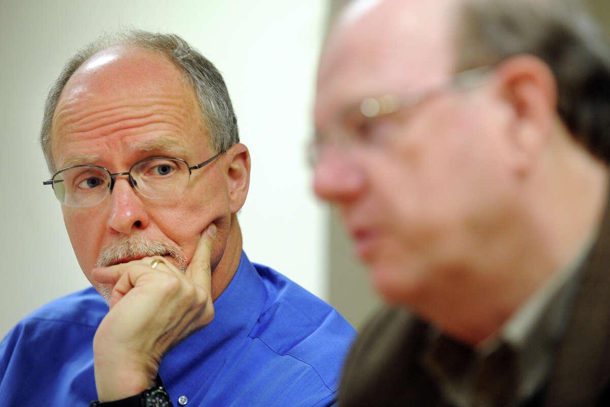 Paul Vallas, interim superintendent listens to Robert Trefy, President of the Bridgeport Board of Education, Conn., March 6th, 2012.