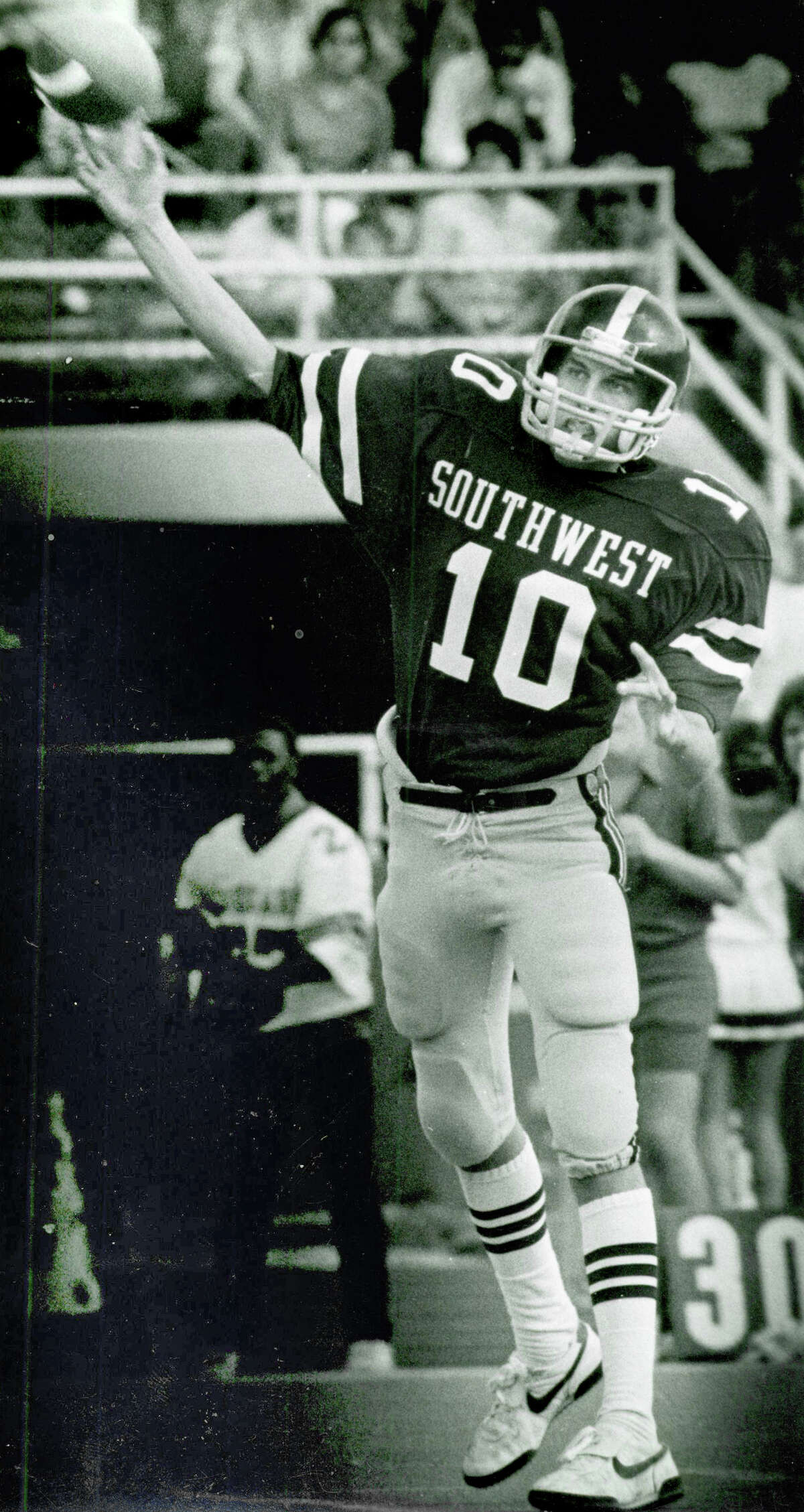 Ty Detmer photographed in high school days at Southwest High School in San Antonio, TX. San Antonio Express-News File Photo