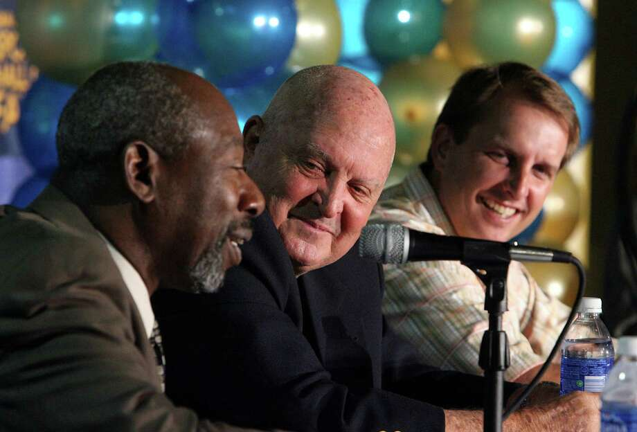 The San Antonio Sports Hall of Fame announces its 2007 class Wednesday at the Alamodome.  (LEFT TO RIGHT)  Inductees are former football player Willie Mitchell,  former St. Mary's basketball coach Buddy Meyer, and former football player Ty Detmer. Also to be inducted are Darryl Grant,  and former golf great Shirley Furlong.    Wednesday October 18, 2006. Photo: ROBERT MCLEROY , Express-News / San Antonio Express-News