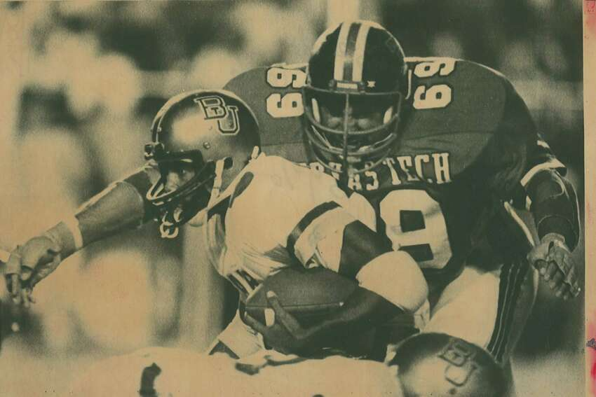 In the first round of the NFL draft Texas Tech defensive tackle Gabe Rivera was the 21st pick by the Pittsburgh Steelers. Riverais shown in this 1982 file photo bearing down on Baylor fullback Robert Williams. (EN file photo)
