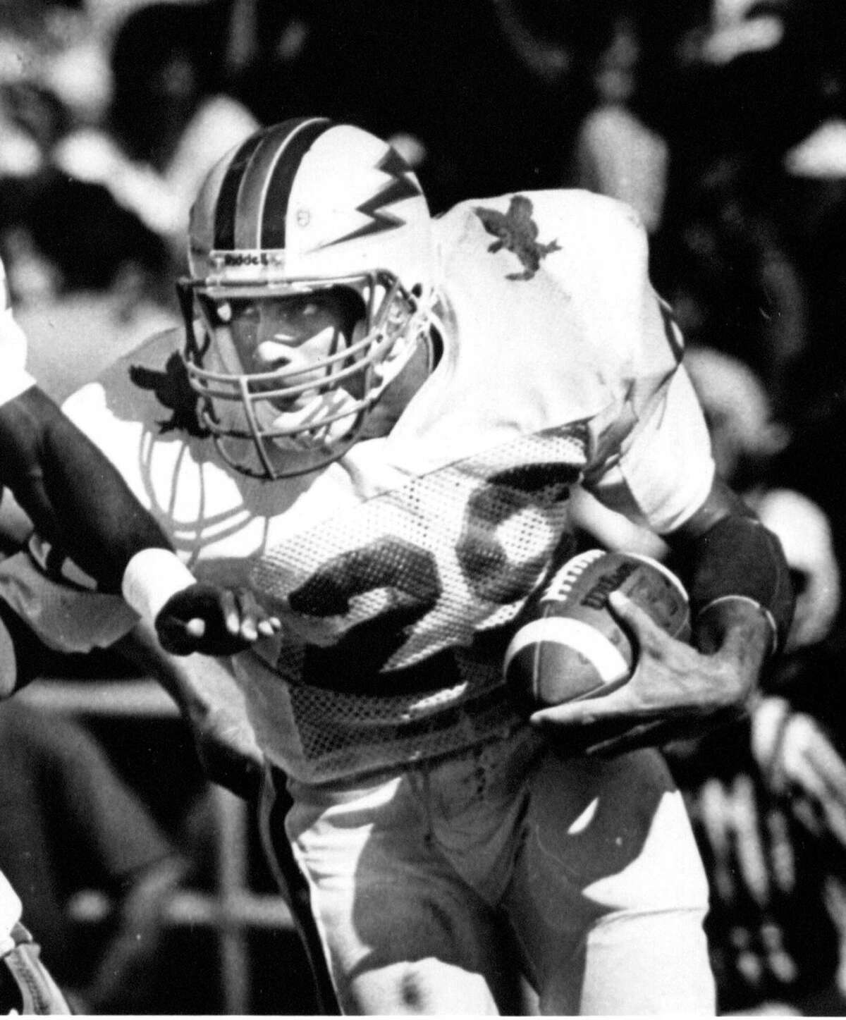 Scott Thomas at Air Force, returning a kick in the mid-1980's. Thomas was inducted into the Air Force Hall of Fame in 2011.