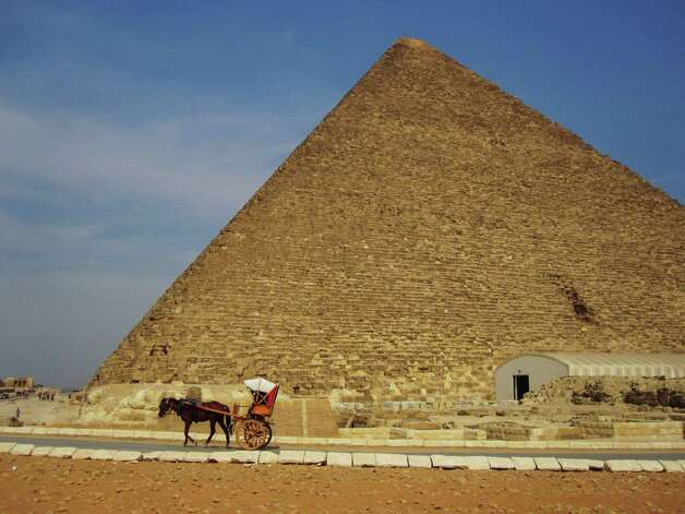 A pyramid at Giza, virtually deserted by tourists and vendors. Photo: Banks M. Smith, For The Express-News