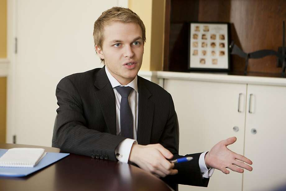 Ronan Farrow, 24, at Dominican University before he delivered the commencement address and received an honorary doctorate, May 12, 2012. Farrow, the son of Mia Farrow and Woody Allen, went to college at 11, Yale Law School at 16, and is now a Rhodes Scholar and special adviser to Secretary of State Hillary Clinton. Photo: Leah Garchik, Brandon Davis