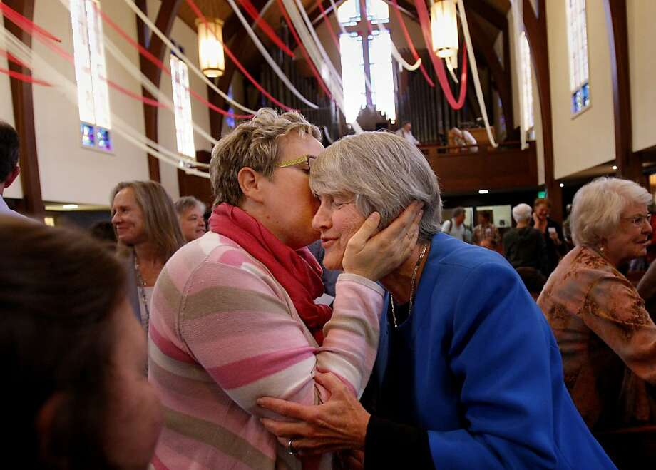 "Rev. Janie Spahr (right) got a kiss from a supporter after the vote went against any rebuke of her ministry years before. The Presbytery of the Redwoods, meeting in San Anselmo, Calif., declined to ""rebuke"" the Rev. Janie Spahr for performing ""gay marriages"" in 2008, a violation of church rules. Photo: Brant Ward, The Chronicle"