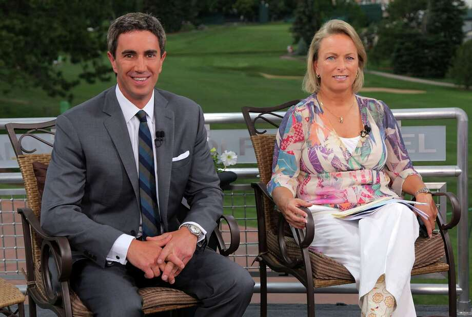 COLORADO SPRINGS, CO - JULY 06:  Terry Gannon (L) and Dottie Pepper of The Golf Channel look on during a taping after a practice round for the 2011 U.S. Womens Open at The Broadmoor on July 6, 2011 in Colorado Springs, Colorado.  (Photo by Doug Pensinger/Getty Images for The Golf Channel) Photo: Doug Pensinger / 2011 Getty Images