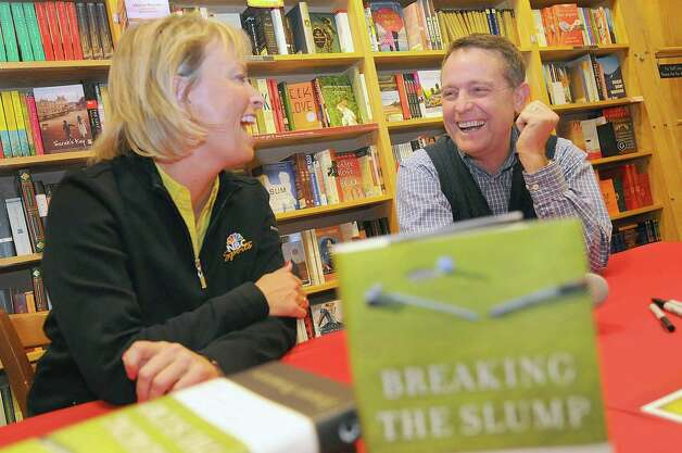 Dottie Pepper,left,  and Jimmy Roberts talk about their careers  at the Borders bookstore during a book signing, April 15,2009 in Saratoga Springs, New York.(Steve Jacobs / Times Union) for sports 1 of 2 photos Photo: STEVE JACOBS