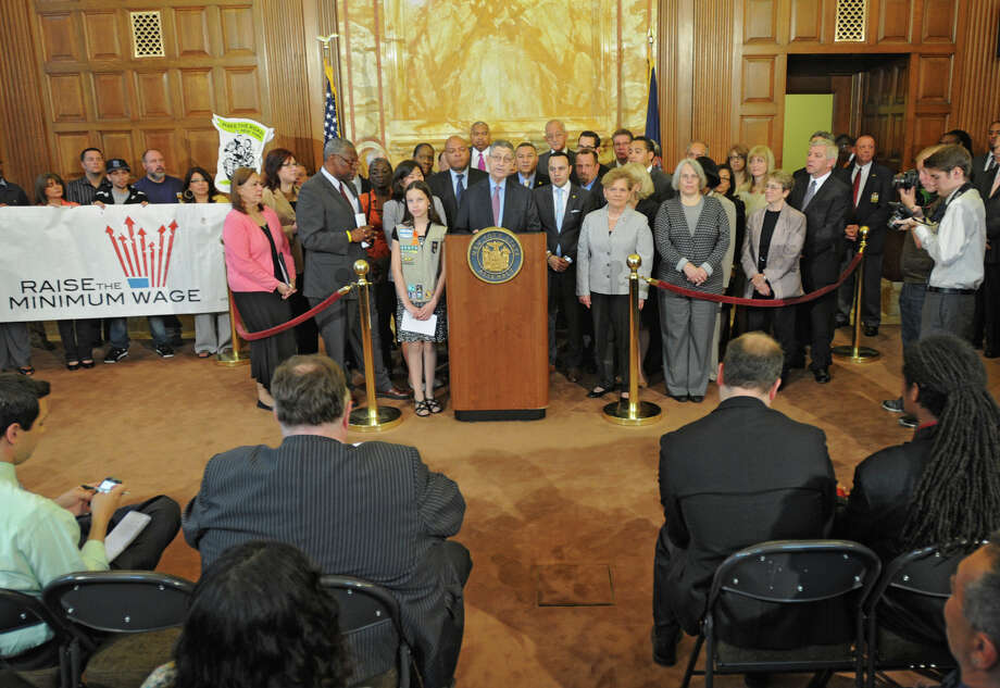 Democratic lawmakers in the state Assembly including Assemblyman Sheldon Silver discuss Tuesday?s scheduled vote on legislation that would increase the state?s minimum wage on Tuesday, May 15, 2012 at the Capitol in Albany, N.Y. (Lori Van Buren / Times Union) Photo: Lori Van Buren