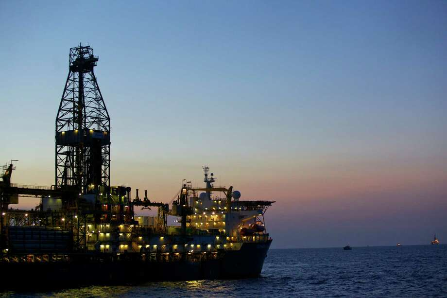 Anadarko Petroleum Corp. has expanded the size of its natural gas discovery off Mozambique. The Deepwater Millennium drill ship is in the foreground, with the Belford Dolphin drill ship is in the background. Both are working in the Rovuma Basin. Photo: Anna Clopet
