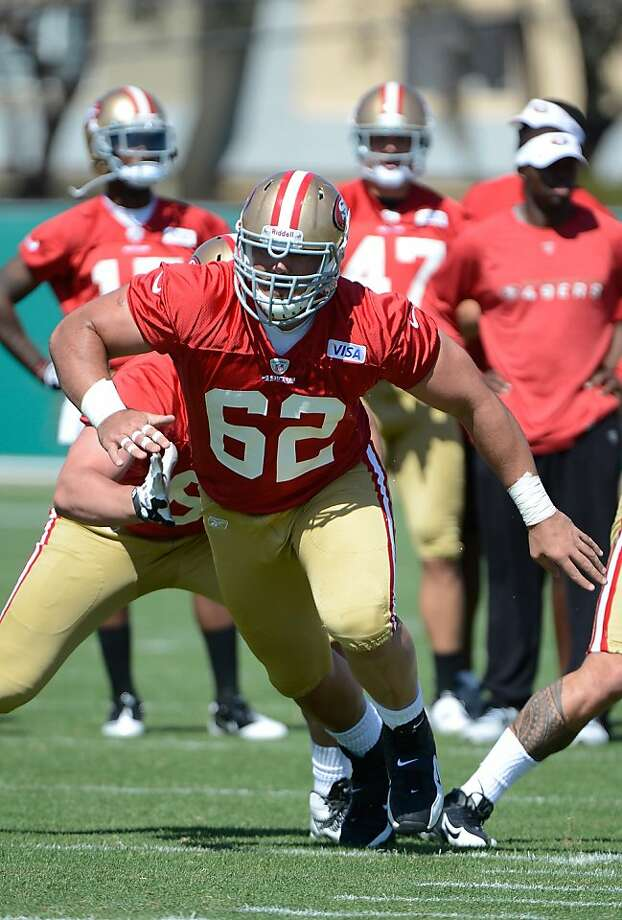 SANTA CLARA, CA - MAY 11:  Jason Slowey #62 of the San Francisco 49ers runs offensive blocking drills during Rookie Minincamp at the San Francisco 49ers practice facility on May 11, 2012 in Santa Clara, California.  (Photo by Thearon W. Henderson/Getty Images) Photo: Thearon W. Henderson, Getty Images