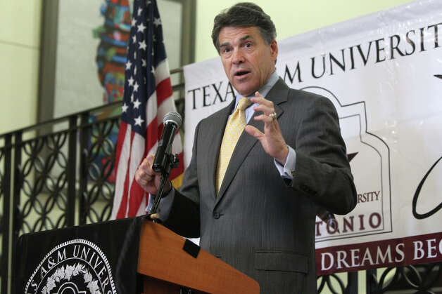 Gov. Rick Perry told Texas educators Tuesday, May 15, 2012, at Texas A&M-San Antonio that he agrees with the University of Texas regents' decision to impose a two-year freeze on undergraduate tuition for state residents, saying education costs need to be kept down. Photo: San Antonio Express-News