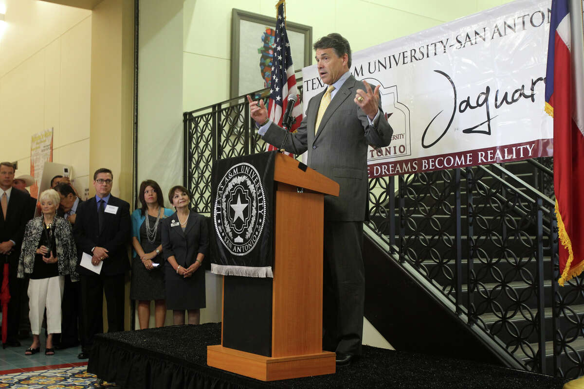 Gov. Rick Perry told Texas educators Tuesday, May 15, 2012, at Texas A&M-San Antonio that he agrees with the University of Texas regents' decision to impose a two-year freeze on undergraduate tuition for state residents, saying education costs need to be kept down.
