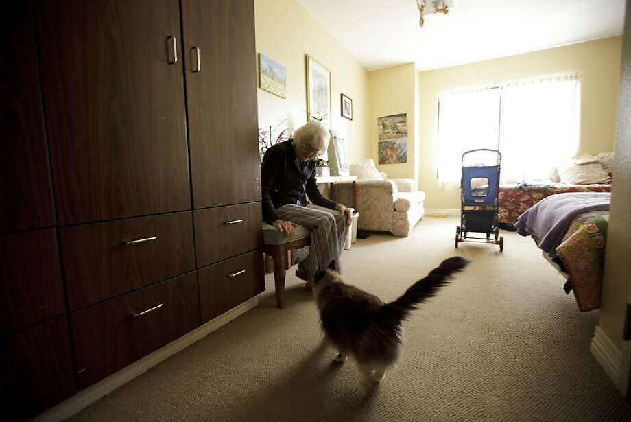 Joyce Kavanagh waits for her cat as she sits in her room at the Silverado Senior Living Center Tuesday, May 1, 2012, in Encinitas, Calif. At the senior center, residents are encouraged to bring their pets. Everything from miniature horses to chinchillas  can be found on the grounds, and residents benefit from frequent contact with the pets. (AP Photo/Gregory Bull) Photo: Gregory Bull, Associated Press