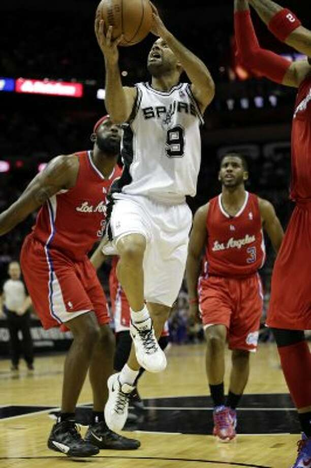 SPURS -- San Antonio Spurs Tony Parker drives to the basket during the first half of game one in the Western Conference semifinals at AT&T Center, Monday, May 15, 2012. Jerry Lara/San Antonio Express-News (Jerry Lara / San Antonio Express-News)