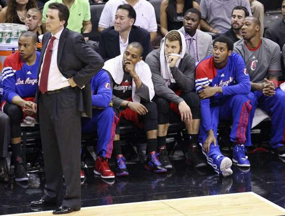 Members of the Clippers watch second half action of Game 1 of the Western Conference semifinals against the Spurs from the bench Monday May 15, 2012 at the AT&T Center. The Spurs won 108-92. (PHOTO BY EDWARD A. ORNELAS/SAN ANTONIO EXPRESS-NEWS) (EDWARD A. ORNELAS / SAN ANTONIO EXPRESS-NEWS)