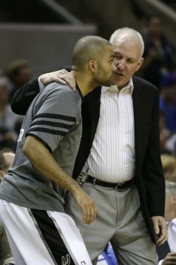 SPURS -- San Antonio Spurs head coach Gregg Popovich send in Tony Parker during their game against the Los Angeles Clippers in game one of the Western Conference semifinals at AT&T Center, Monday, May 15, 2012. Jerry Lara/San Antonio Express-News (Jerry Lara / San Antonio Express-News)