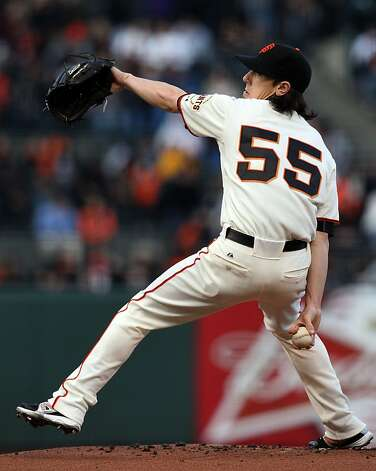 San Francisco Giants starting pitcher Tim Lincecum throws to the Colorado Rockies during the first inning of their MLB baseball game Tuesday, May 15, 2012 in San Francisco Calif. Photo: Lance Iversen, The Chronicle