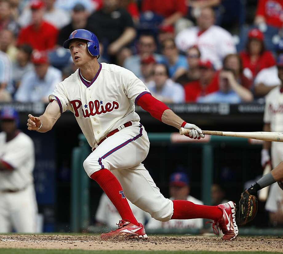 The Phillies' Hunter Pence watches his game-winning home run against the Astros in May. Pence was traded today to the Giants for Nate Schierholtz and two minor league prospects. Photo: David Maialetti, McClatchy-Tribune News Service