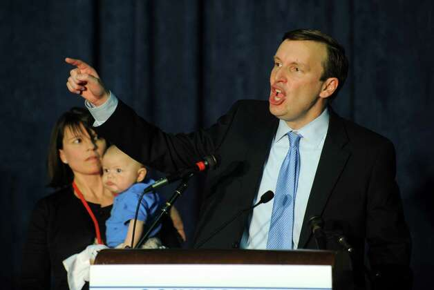 U.S. Rep. Chris Murphy addresses supporters after capturing the Democratic party endorsement as candidate for the U.S. Senate during the Democratic State Convention at Central Connecticut State University's Kaiser Hall in New Britain Saturday, May 12, 2012. Photo: Autumn Driscoll / Connecticut Post