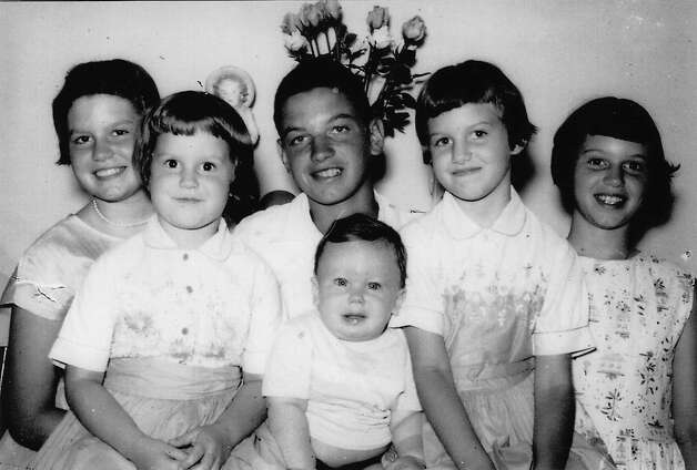 THEN: Siblings (back row from left) Jeanette, Mary, Larry, Donna and Betty Deschler. Front row, Bill Deschler. Indianapolis, June 1959. The photo was created as a surprise anniversary gift for the children's parents. Photo: COURTESY
