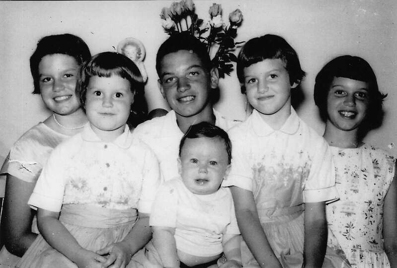 THEN: Siblings (back row from left) Jeanette, Mary, Larry, Donna and Betty Deschler. Front row, Bill