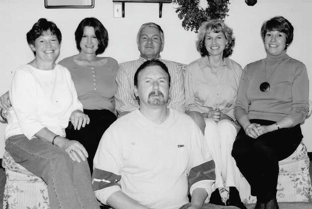 NOW: Siblings (back row left to right) Jeanette Moriarty, Mary Deschler, Larry Deschler, Donna Rosenberger, B. Jane Sheaff. Front row, Bill Deschler in Sept. 2009. Photo: COURTESY